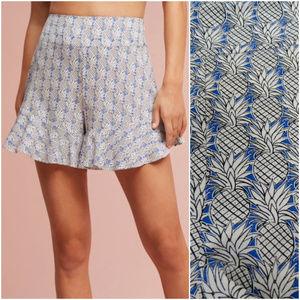 Maeve Anthro | Blue Pineapple Ruffle Shorts (C4)
